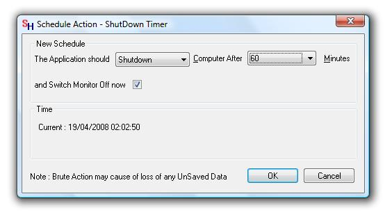 Auto Shutdown pc Screen of Shutdown Timer Utility